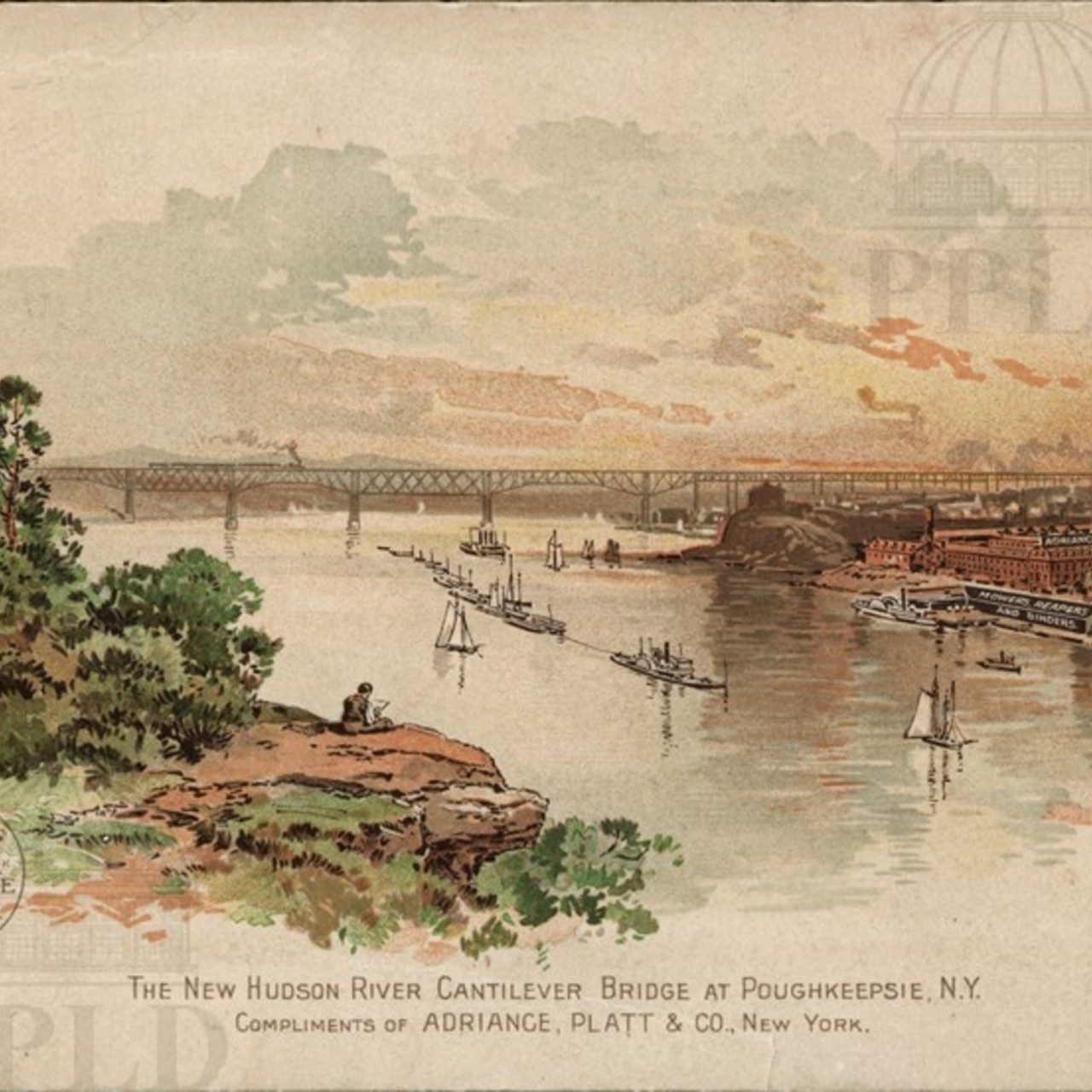 """The New Hudson River Cantilever Bridge at Poughkeepsie N.Y."""
