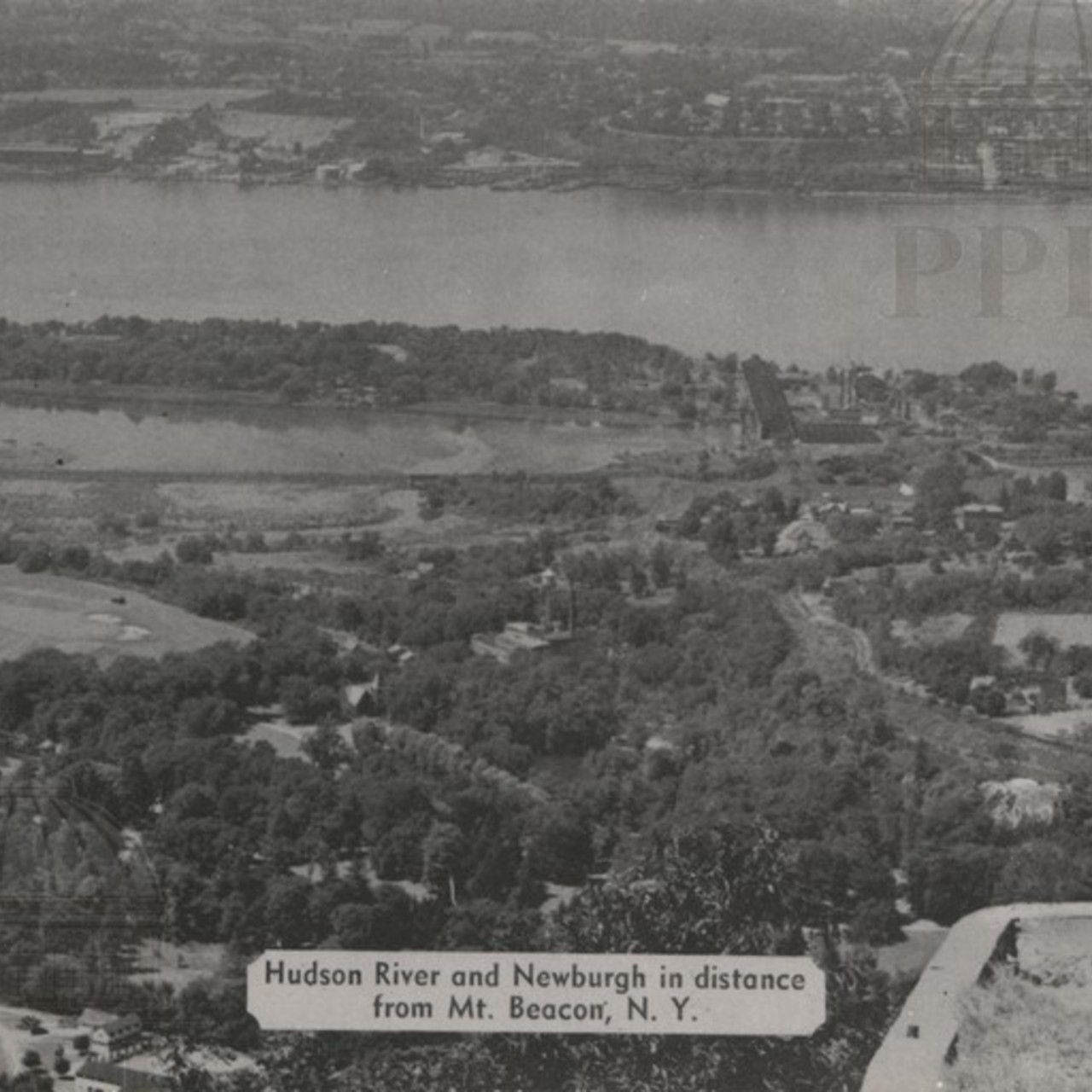 Hudson River & Newburgh in distance from Mt. Beacon, N.Y.